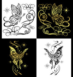 duo butterflies for any decorations or tattoo vector image
