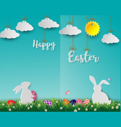 easter eggs with white rabbits on green grass vector image