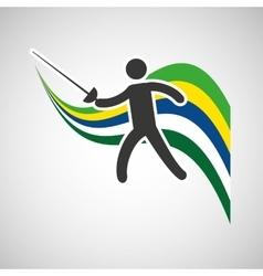 Fencing sportsman flag background design vector