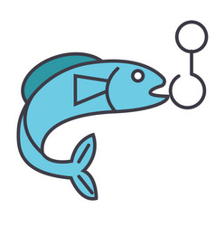 fishing flat line concept vector image