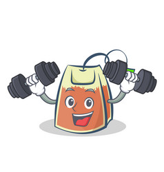 fitness tea bag character cartoon vector image