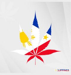 Flag of philippines in marijuana leaf shape vector