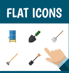 Flat icon farm set of trowel spade container and vector