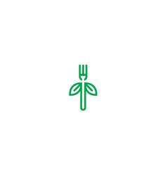 fork vegan green leaf organic logo vector image