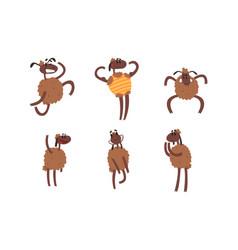 funny sheep collection humanised farm animal vector image