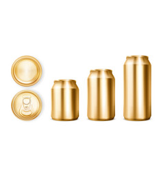 Gold tin cans for soda or beer in different views vector