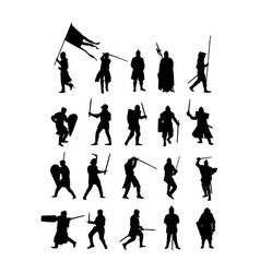 Group knight in armor sword shield silhouette vector