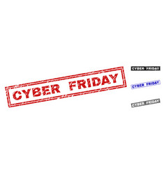 grunge cyber friday textured rectangle stamps vector image