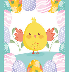 happy easter cute chicken with eggs border vector image