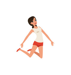 happy woman in jumping action young girl with vector image