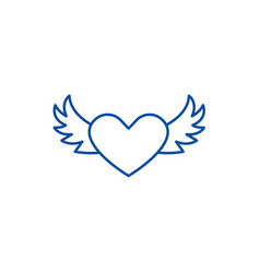 Heart with wings line icon concept heart vector