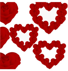 hearts with roses vector image