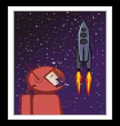 Heroic astronaut and flying space rocket vector image