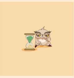 Howlet sticker emoticon sits at hourglass vector
