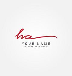 initial letter ha logo - handwritten signature vector image