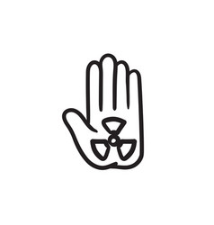 ionizing radiation sign on a palm sketch icon vector image