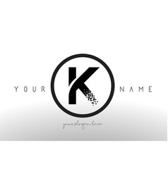 K logo letter with digital pixel tech design vector