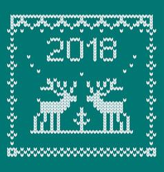 Knitted deer blue vector