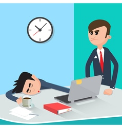 Lazy Businessman Sleeping at Work Angry Boss vector image