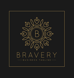 Letter b logo with classic and luxurious line art vector