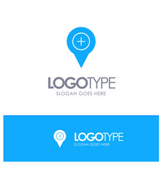 Location map navigation pin plus blue solid logo vector