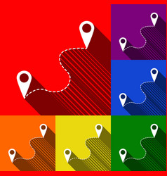 location pin navigation map gps sign set vector image