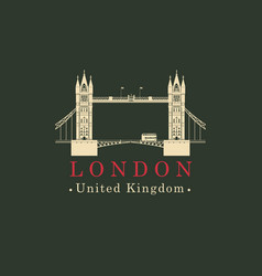 London bridge logo english architectural landmark vector