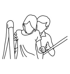 male physical therapist assisting disable woman vector image