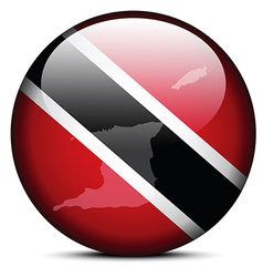 Map on flag button of Republic Trinidad and Tobago vector