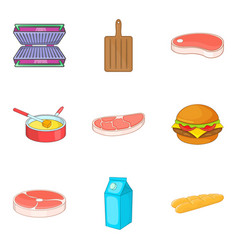 meat for sandwich icons set cartoon style vector image