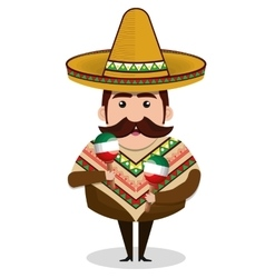 mexican man character isolated icon vector image