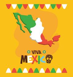 Mexican map flag celebration viva mexico vector