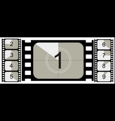 Movie countdown vintage silent film and blank vector