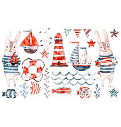 nautical watercolor baby rabbit sailor vector image