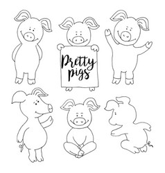pig collection set set banner happy new year vector image