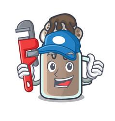 Plumber milkshake mascot cartoon style vector