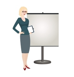 Political strategist is standing next to the stand vector image