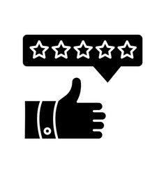 product review black glyph icon thumbs up five vector image