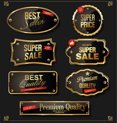 retro vintage black and gold badges and labels vector image