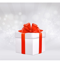 round with gift box with red bow vector image