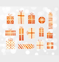 set cream-colored and red gift boxes on white vector image
