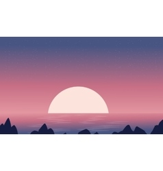 Silhouette of seaside at night landscape vector