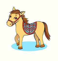 small horse cartoon yellow on a light background vector image
