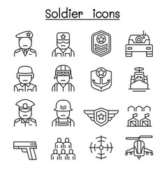 soldier military icon set in thin line style vector image