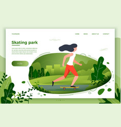 Sporty girl skating in park vector