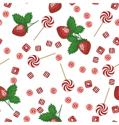Strawberry lollipops candy and chewing gum seamles vector image