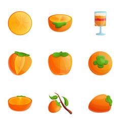 Tasty persimmon icon set cartoon style vector