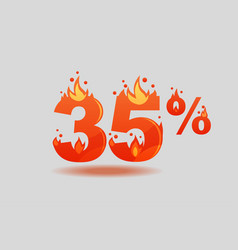 Thirty five percent discount numbers on fire vector