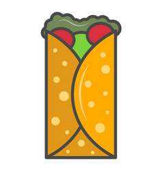 Tortilla wrap isolated icon vector