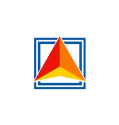 triangle color square arrow logo vector image